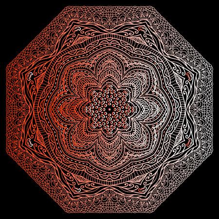 octagonal: Ornamento gris Octagonal sobre un fondo negro