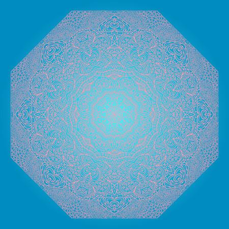 octagonal: Octagonal rosy ornament on a blue background