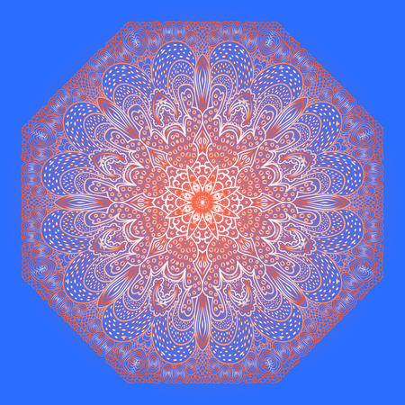 octagonal: Octagonal red ornament on a blue background