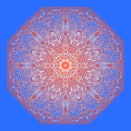 octagonal: Ornamento rojo Octagonal sobre un fondo azul