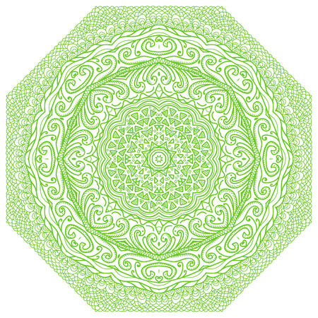 octagonal: Octagonal green ornament on a white background