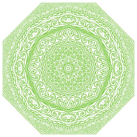 octagonal: Ornamento verde octogonal sobre un fondo blanco