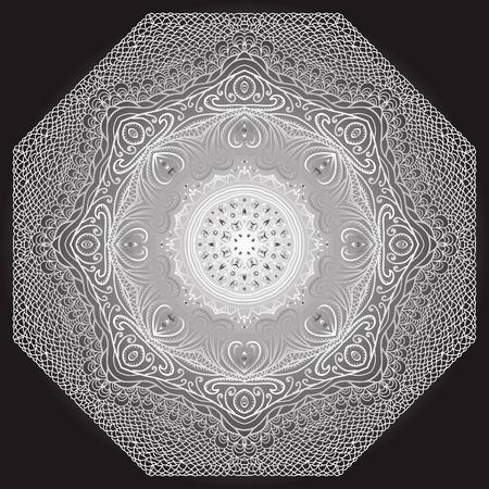 octagonal: Ornamento gris octogonal sobre un fondo negro