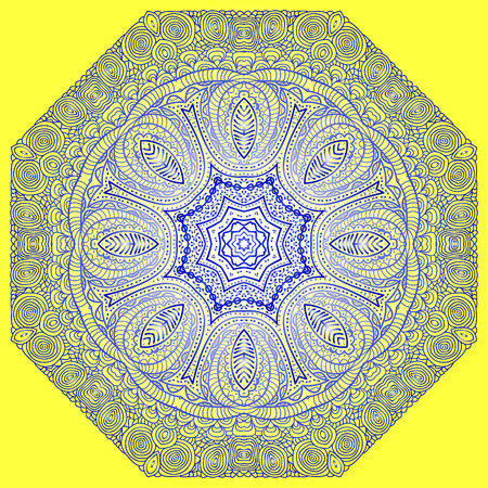 octagonal: Octagonal blue ornament on a yellow background