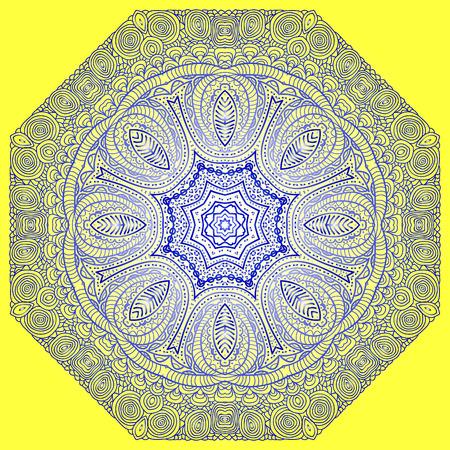 octagonal: Ornamento azul octogonal sobre un fondo amarillo