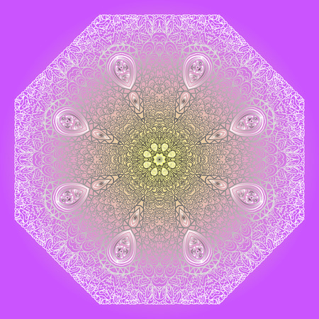 octagonal: Octagonal grey ornament on a violet background Illustration