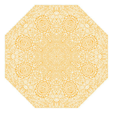 octagonal: Octagonal orange ornament on a white background