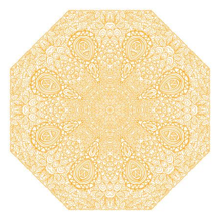 octagonal: Ornamento naranja octogonal sobre un fondo blanco
