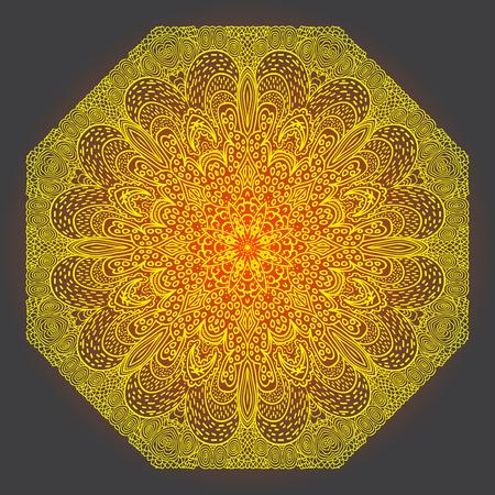 octogonal: Octagonal ornamento amarillo sobre un fondo gris Vectores