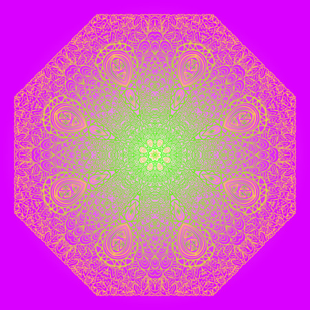 octagonal: Octagonal red and green ornament on a violet background Illustration
