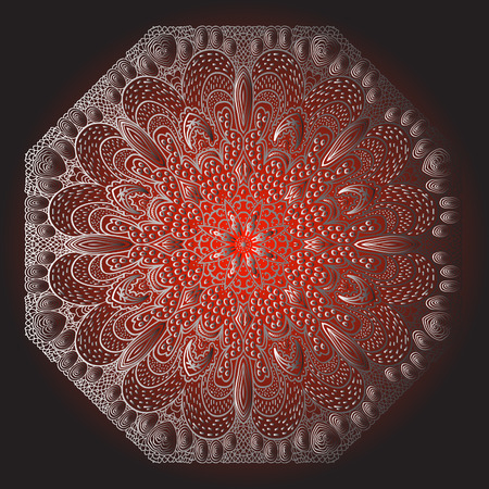 octagonal: Octagonal grey ornament on a red and black background Illustration