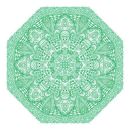 octogonal: Ornamento verde octogonal sobre un fondo blanco