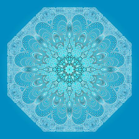 octogonal: Ornamento gris octogonal sobre un fondo azul