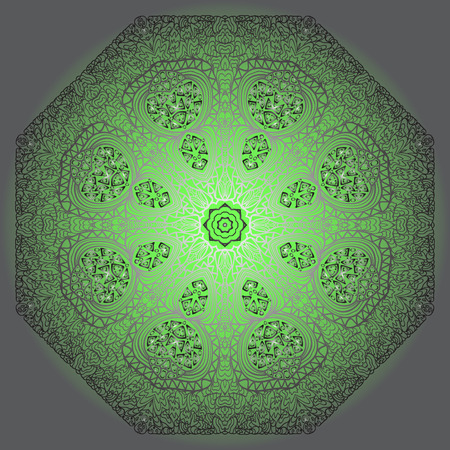 octagonal: Octagonal grey ornament on a green and grey background