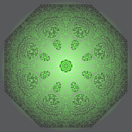 octogonal: Ornamento gris octogonal sobre un fondo verde y gris Vectores