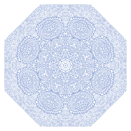 octagonal: Octagonal blue ornament on a white background