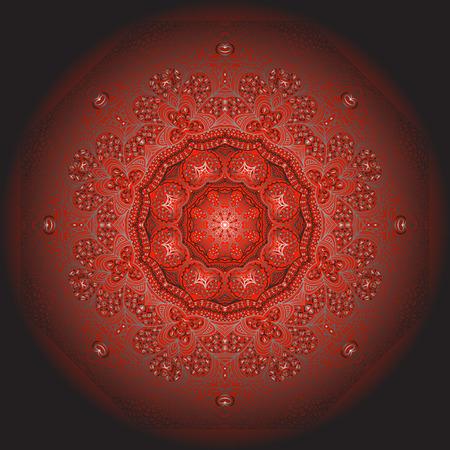 octogonal: Ornamento gris Octagonal sobre un fondo rojo y negro Vectores