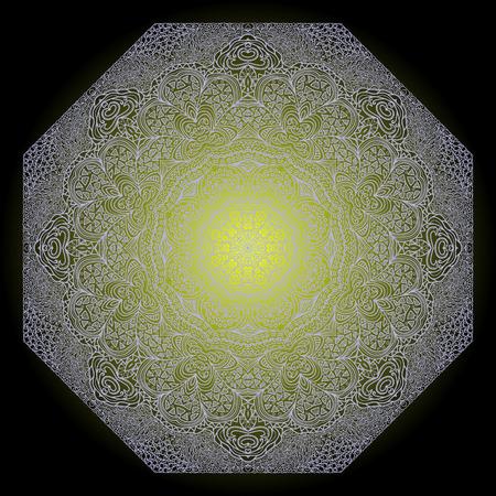 octogonal: Ornamento gris Octagonal sobre un fondo negro