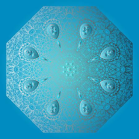 octogonal: Ornamento gris Octagonal sobre un fondo azul