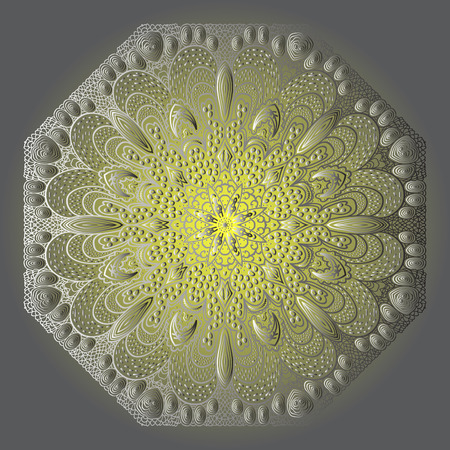 octagonal: Octagonal grey and yellow ornament on a grey background Illustration