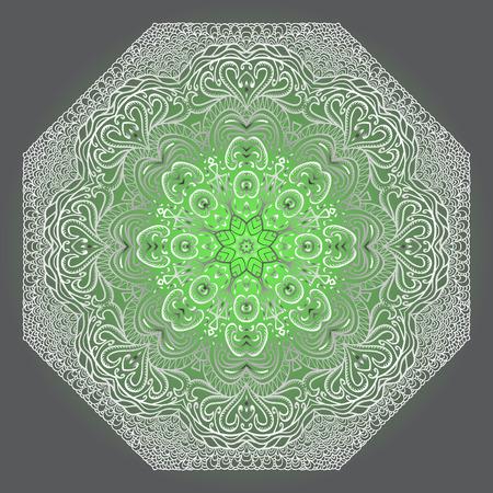 octagonal: Modelo octagonal gris y verde sobre un fondo gris Vectores