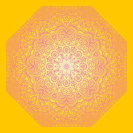 octogonal: Ornamento p�rpura octogonal sobre un fondo amarillo Vectores