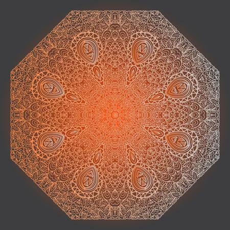 octagonal: Octagonal orange ornament on a black background