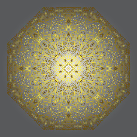 octagonal: Octagonal yellow ornament on a grey background