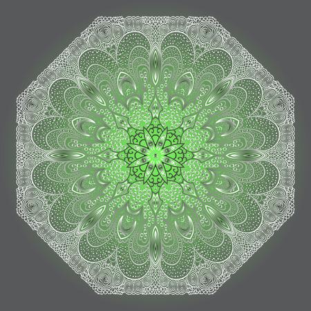 octogonal: Gris Octogonal y ornamento verde sobre un fondo gris Vectores