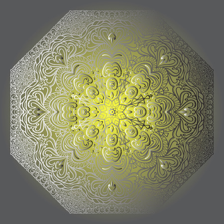 octagonal: Octagonal grey ornament on a yellow and grey background