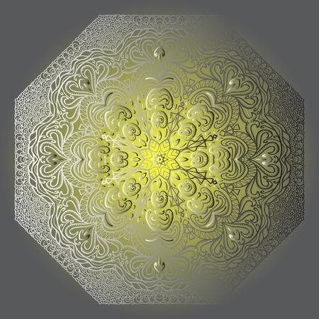 octogonal: Ornamento gris octogonal sobre un fondo amarillo y gris