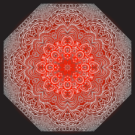 octagonal: Octagonal red ornament on a red and black background