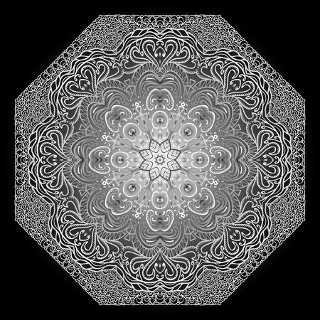 octagonal: Grey octagonal pattern on a black background Illustration