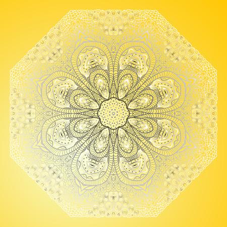 tarjeta amarilla: Tarjeta amarilla con el ornamento octogonal