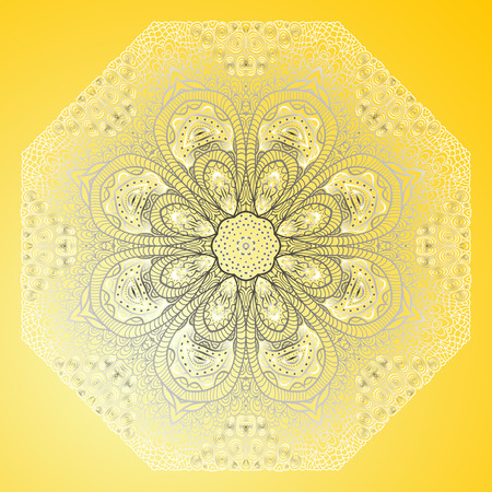 octagonal: Yellow card with octagonal ornament