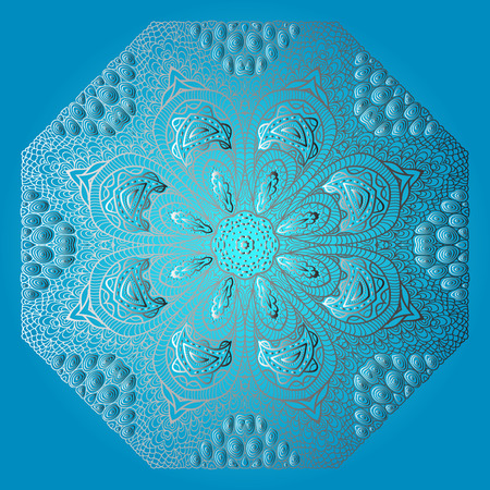octagonal: Blue card with gray octagonal ornament