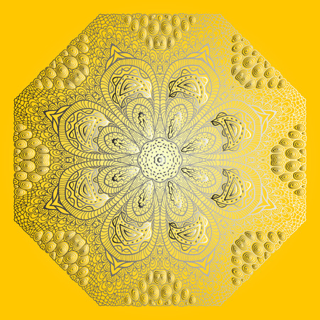 octagonal: Octagonal grey ornament on yellow background Illustration