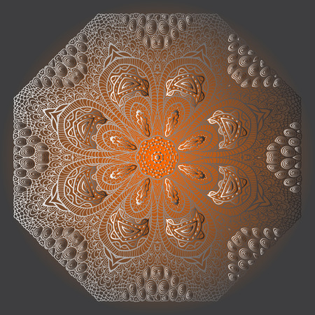 octagonal: Grey card with orange octagonal ornament Illustration