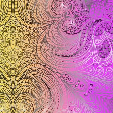 quadrate: Quadrate yellow purple ornament for design Illustration