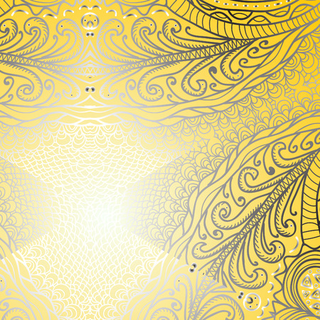 quadrate: Quadrate yellow ornament for design Illustration