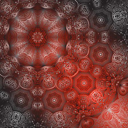 quadrate: Quadrate red ornament for design and background Illustration