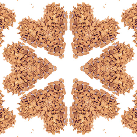 freeze dried: Pattern of instant coffee granules isolated on the white background