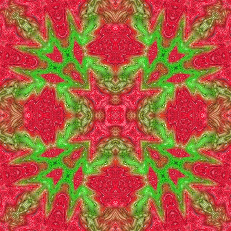 red' green: Repeating abstract kaleidoscopic red green background