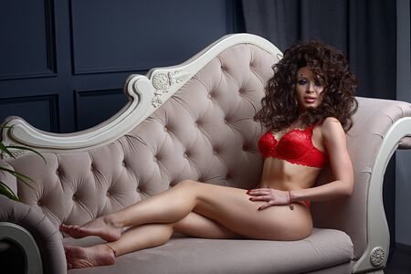 Portrait of a sexy young lady looking confidently in lingerie at black sofa bed 版權商用圖片