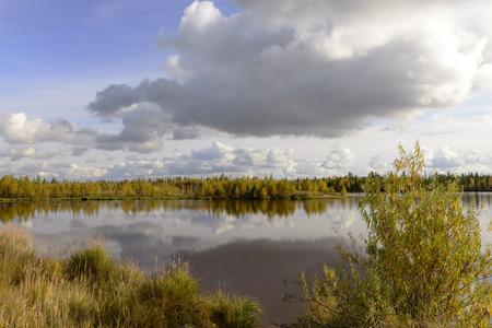 Autumn scenic landscape of the Russian North photo