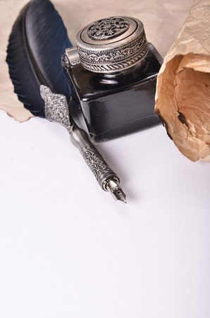 quill: quill ink Stock Photo
