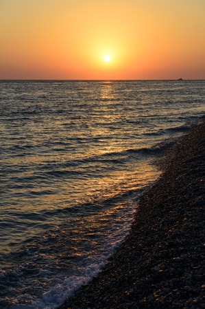 pacification: picturesque golden sunset on the Black Sea