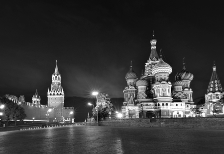 illuminated Basils Cathedral and Spasskaya Tower at night photo