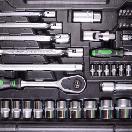 wrenches and screwdrivers in the tool box