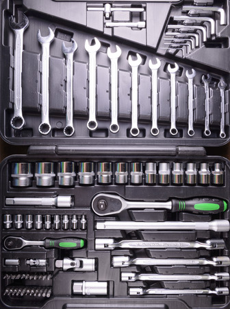 tool box: wrenches and screwdrivers in the tool box